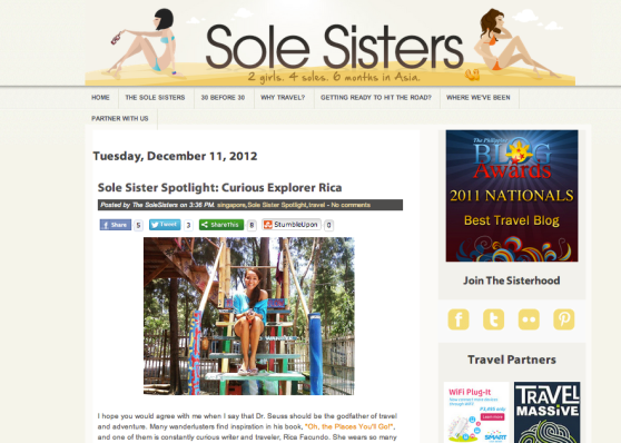 Rica Facundo - Curious Explorer. My spotlight feature on Sole Sisters