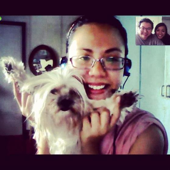 Skyp with loved ones... even the doggies!